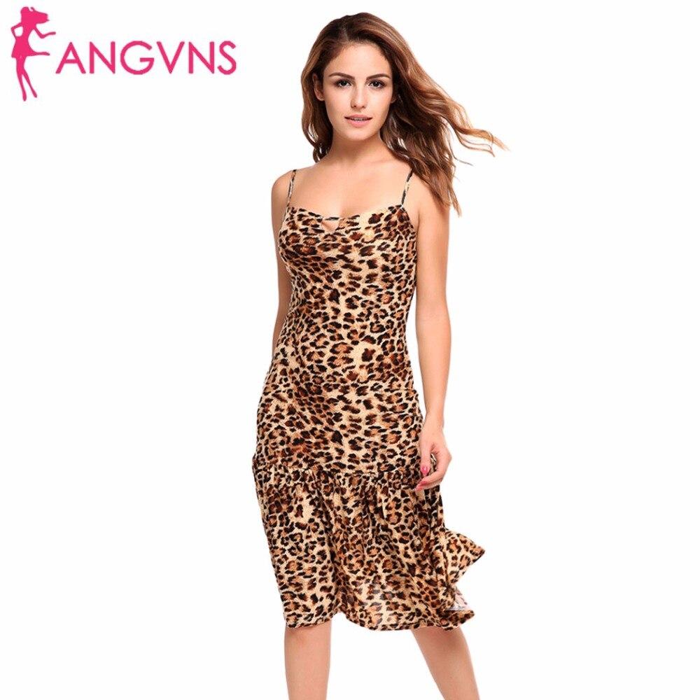 ANGVNS Women Backless Strappy Keyhole Sexy Leopard Dress Ruffled Hem Formal Club Wear Spaghetti Strap Party Dress Beach Dress