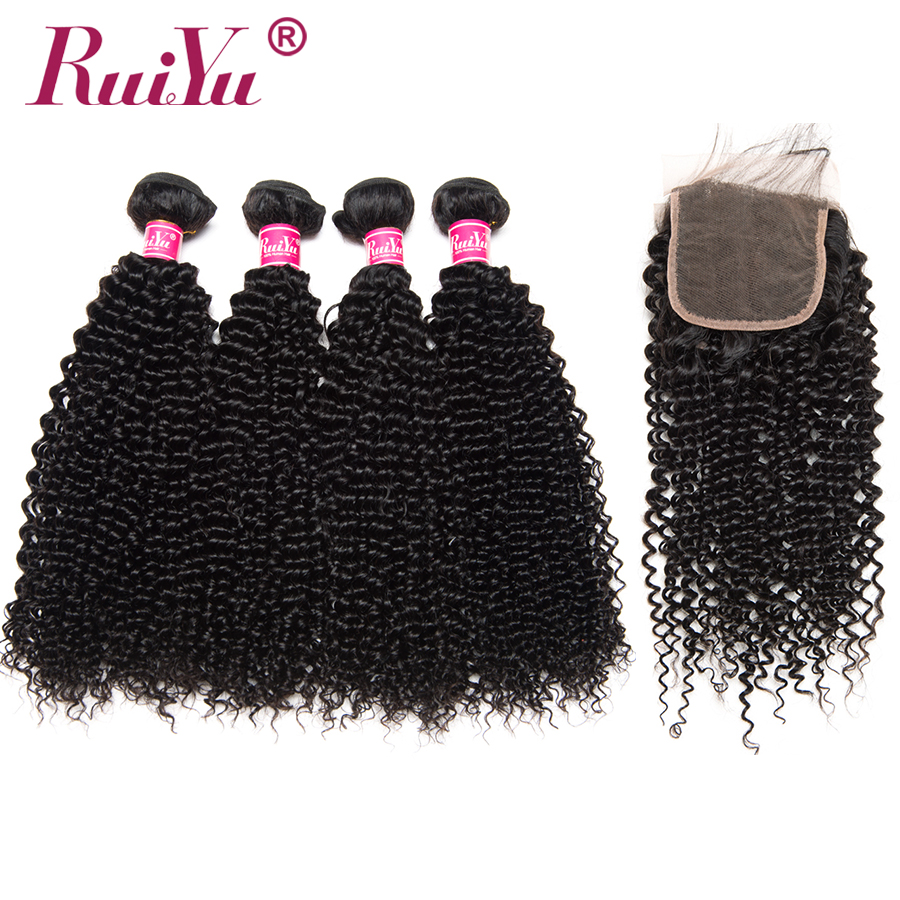 RUIYU Peruvian Afro Kinky Curly Bundles With Closure 4 Bundles Human Hair Bundles With Lace Closure Non Remy Hair Weave