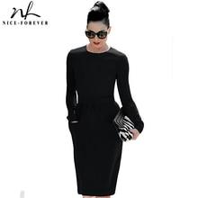 Хорошее-forever формальное платье-карандаш с высокой талией женское элегантное однотонное винтажное платье-футляр с накладными карманами и длинным рукавом Миди платье для работы 456