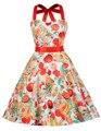 Estilo de verano 2016 gracia karin vestidos de verano retro vestidos rockabilly vintage 40 s 50 s pinup floral impresión de la cereza columpio dress