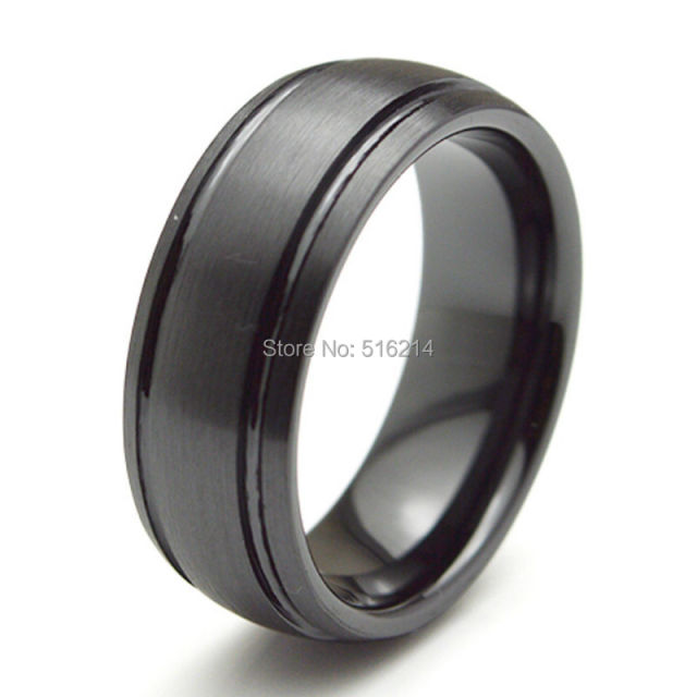 Hot Sale Ceramic Rings Black Women Men's Party Engagement Wedding Band Jewelry Matte Finished CE008R