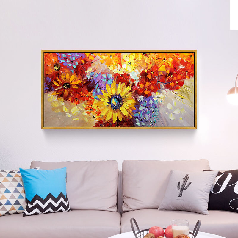 100 Hand Painted Abstract Sunflowers Oil Painting On Canvas Wall Art Wall Adornment Pictures Painting For Live Rooms Home Decor in Painting Calligraphy from Home Garden