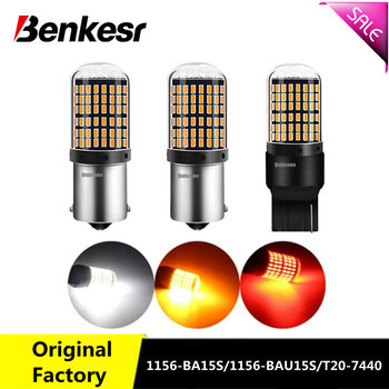 2 piezas T20 7440 W21W bombillas LED 144smd led CanBus No Error 1156 BA15S P21W BAU15S PY21W lámpara led para señal de luz de marcha atrás