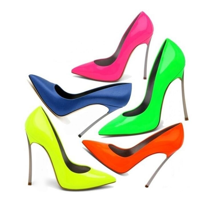 2018 Spring Autumn Women Pumps Sexy Pointed Toe Blade Heels High Heeled Dress Shoes Black Orange Patent Leather Office Shoes green sexy self tie design button crop top