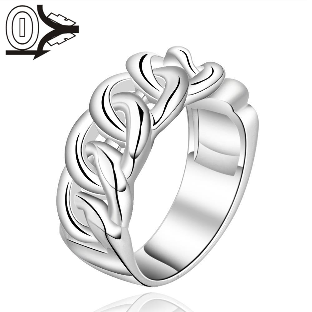 Christmas Gift Wholesale Silver-plated Ring,Silver Fashion Jewelry,Women Gift Cross Chain-shaped Silver Finger Rings Top Quality