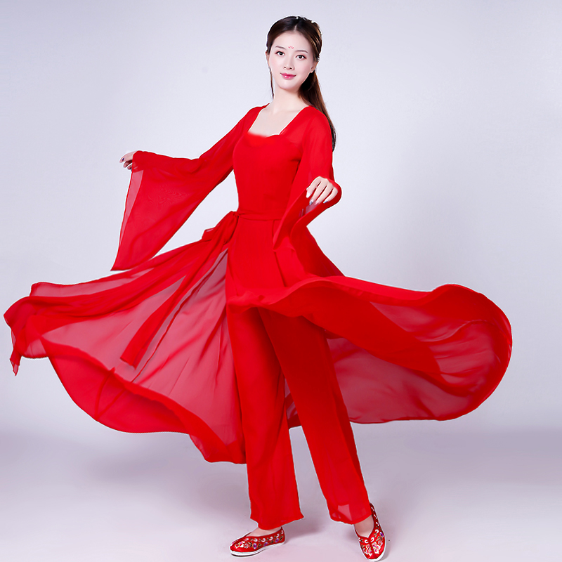 Chinese style Hanfu classical dance costumes female summer elegant solid color modern sleeve dance stage performance clothing