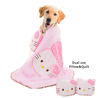 Dual use Hello Kitty Pillow&quilt for Pet Dogs Cat Dog Bed House Accessories Rainbow Blanket Dog Large Pillow Pet Sofa Blanket
