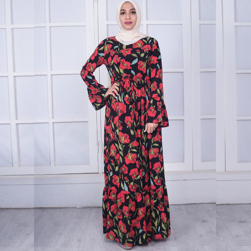 dae1911f041 Plus Size Vestidos 2019 Abaya Dubai Kaftan Crepe Long Bandage Hijab Arabic Muslim  Dress Women Elbise Turkish Islamic Clothing-in Islamic Clothing from ...