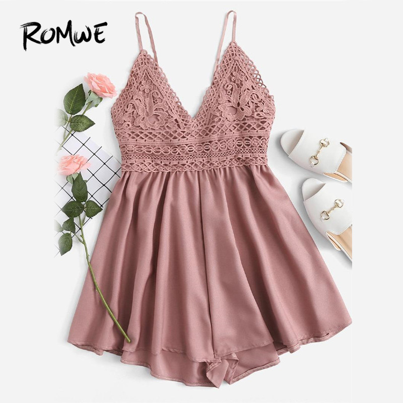 ROMWE Contrast Lace Knot Back Cami   Romper   Women Pink V Neck Straps Sleeveless Playsuit Summer Casual Wide Leg   Romper