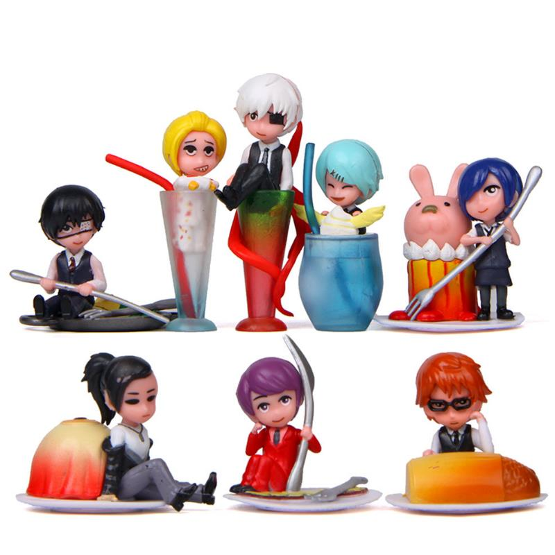 >8pcs/set Kawaii <font><b>Japanese</b></font> Cartoon pvc Delicious food <font><b>style</b></font> boy Models Toys DIY Accessories Doll <font><b>House</b></font> Decor gift