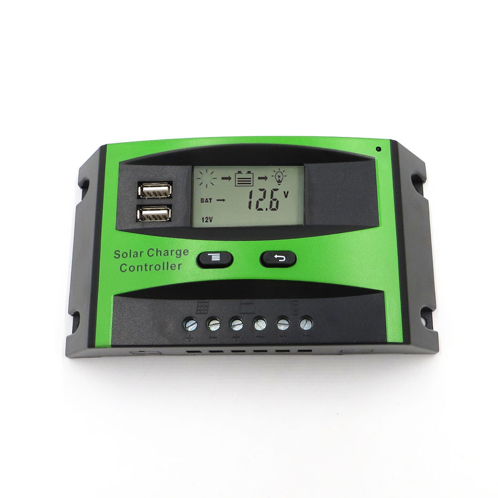 60A 50A 40A 30A 20A 10A 12V 24V PWM Solar cell panel battery Charge Controller Regulator LCD Display USB 5V Mobile Phone Charger maylar 30a pwm solar charge controller 12v battery regulator with 5v usb output lcd display
