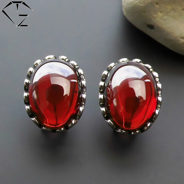 925 Silver Stud Earring for Women Granet Stone Red Corundum Crystal GZ S925 Sterling Silver Earrings Jewelry LE103