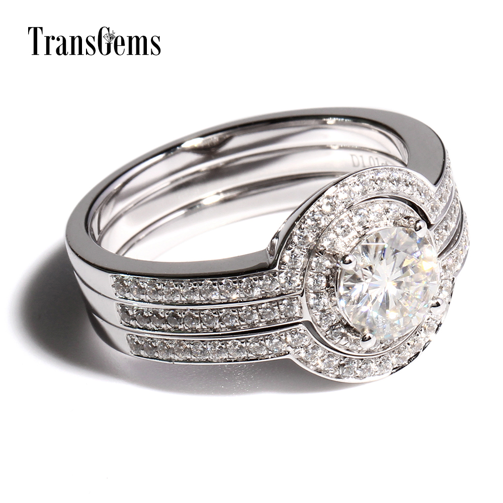Transgems 1 Carat F Color Lab Grown Moissanite Diamond Wedding Ring Set  Genuine Diamond Accents Solid