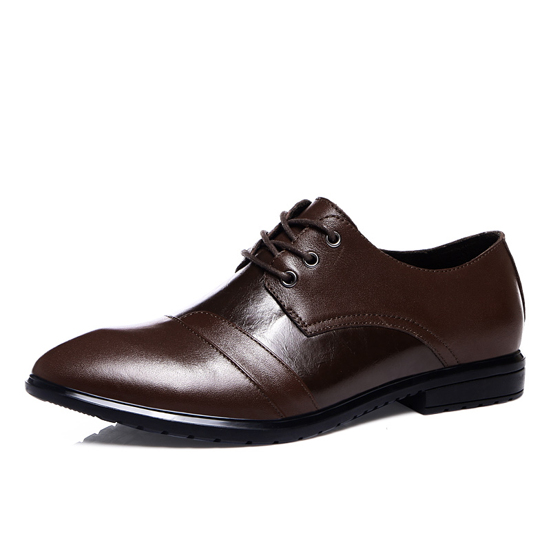 ФОТО High quality Italian Designer Genuine leather shoes Men Black Brown dress shoes Lace Up Men's flats Party Office Oxfords Shoes