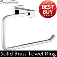 Free Shipping Solid Brass Construction Chrome Finish Towel Ring Towel Holder Rack Bathroom Products Bathroom Accessories 94005