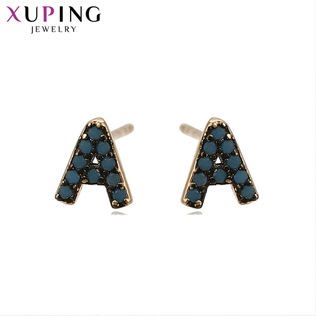 11 Deals Xuping Christmas Elegant Alphabet Earrings Set New Design Gold Color Plated Jewelry Wedding