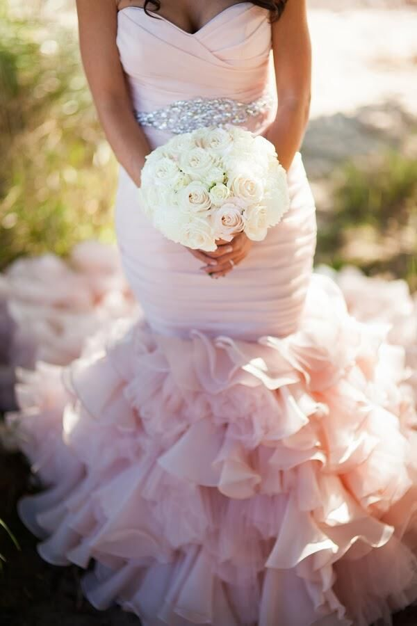 Buy luxury ruffle light pink wedding for Pink ruffle wedding dress