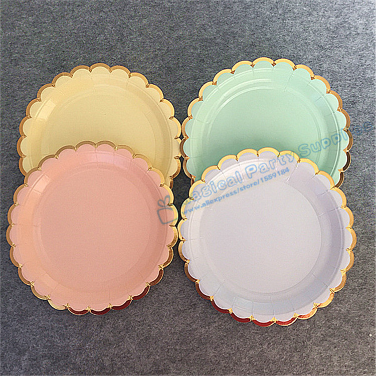 80pcs Pastel Scallop Canape Plates Small 18cm Dishes Peach Mint Yellow Blue Paper Plate with Foil Gold Edge Wedding Favor