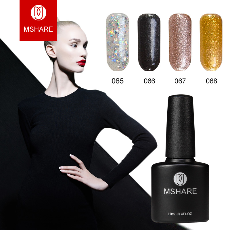 MSHARE 10ml Diamond Nail Gel Glitter Polsk Bling Sølv UV Gel Nails Gull Varnish Soak Off Lak Lakk Resin Materials MS01