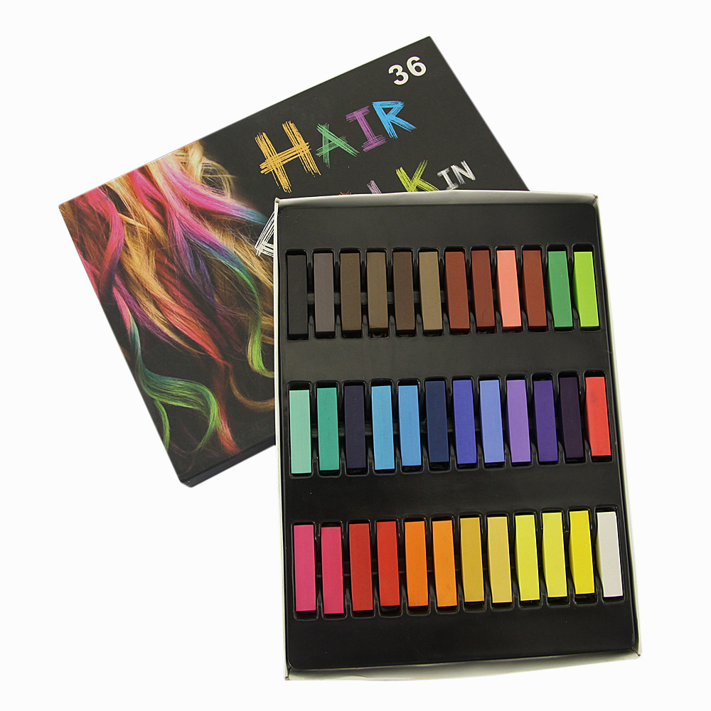Fashion 36 Colors Spa Hair Chalk Salon Craft Kit One-time Hair Dye Toy Colorful Chalk Pen Child Adult Gift Boy And Girl Toy