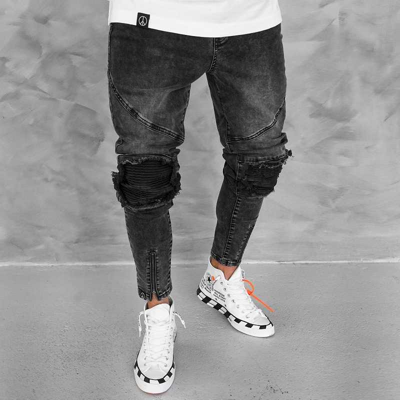 2019 pantalones vaqueros negros de moda para hombre Streetwear pantalones de mezclilla de algodón Vintage HipHop pantalones vaqueros de HipHop