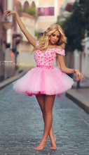 2015 Stunning Rose Flowers Pink short Prom Dresses Off Shoulder Lace Applique Crystal Beads Backless Up prom gowns party