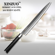 XINZUO 12″ inch sashimi knife Germany steel sushi knife kitchen knife filleting knife wood scabbard and handle one-sided edge