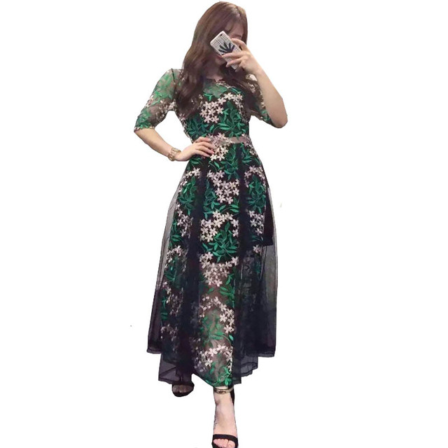 5afecf492768a US $29.48 25% OFF|Fashion 2018 Spring Summer Dresses Ladies Retro Green  Flowers Embroidery Sweet Fairy Long Runway Dress Mesh Bohemian Vestidos-in  ...
