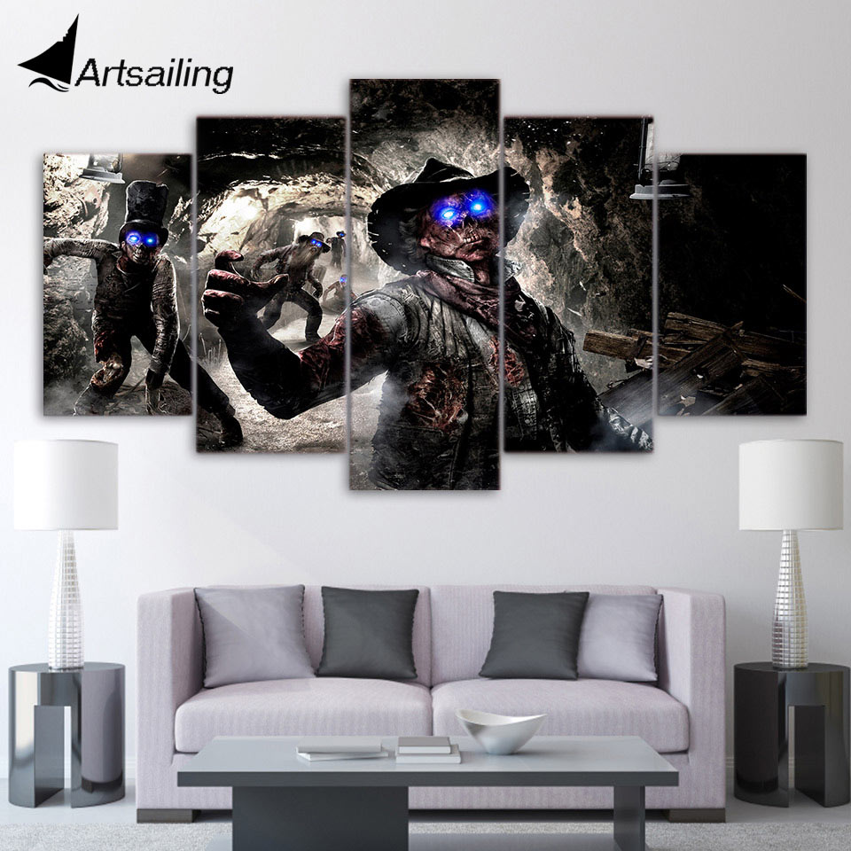 5 piece canvas art HD print call of duty zombies death poster paintings for living room wall free shipping UP-2097A