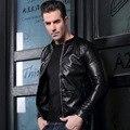 Men's pigskin motorcycle real leather jacket Genuine Leather jackets Autumn winter warm coat men No collar PU men's jacket