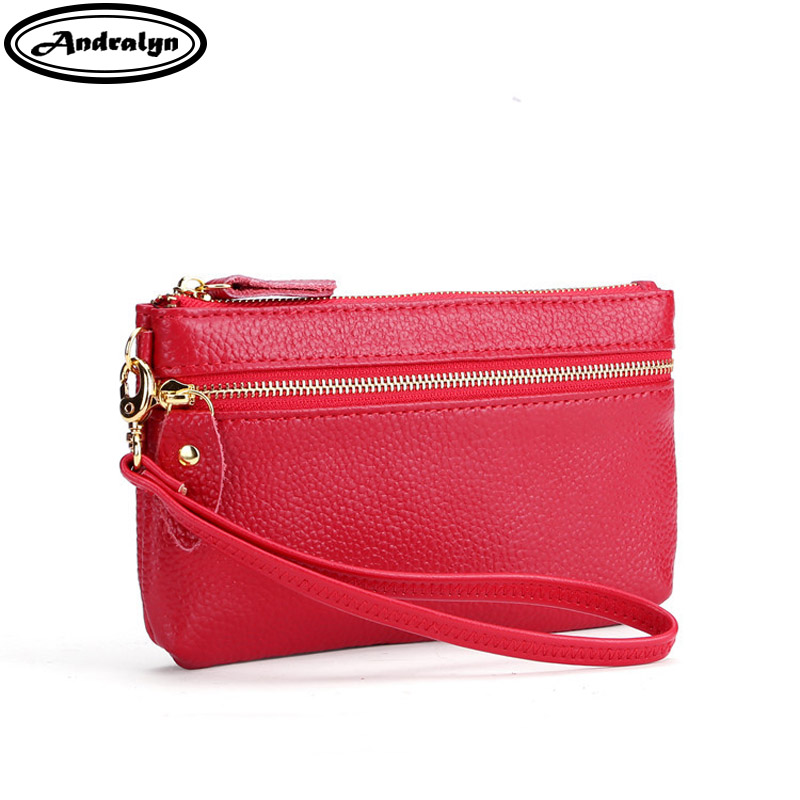 Andralyn 2018 New Genuine Leather Wallet Women Small Change Purse Ladies Mobile Phone Wallet Childrens Coin Purse