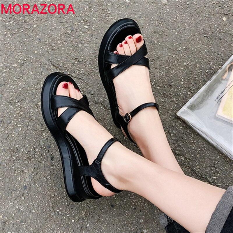 MORAZORA 2019 Top Quality Cow Leather Shoes Woman Buckle Summer Shoes Fashion Simple Wedges Platform Shoes Women Sandals Black
