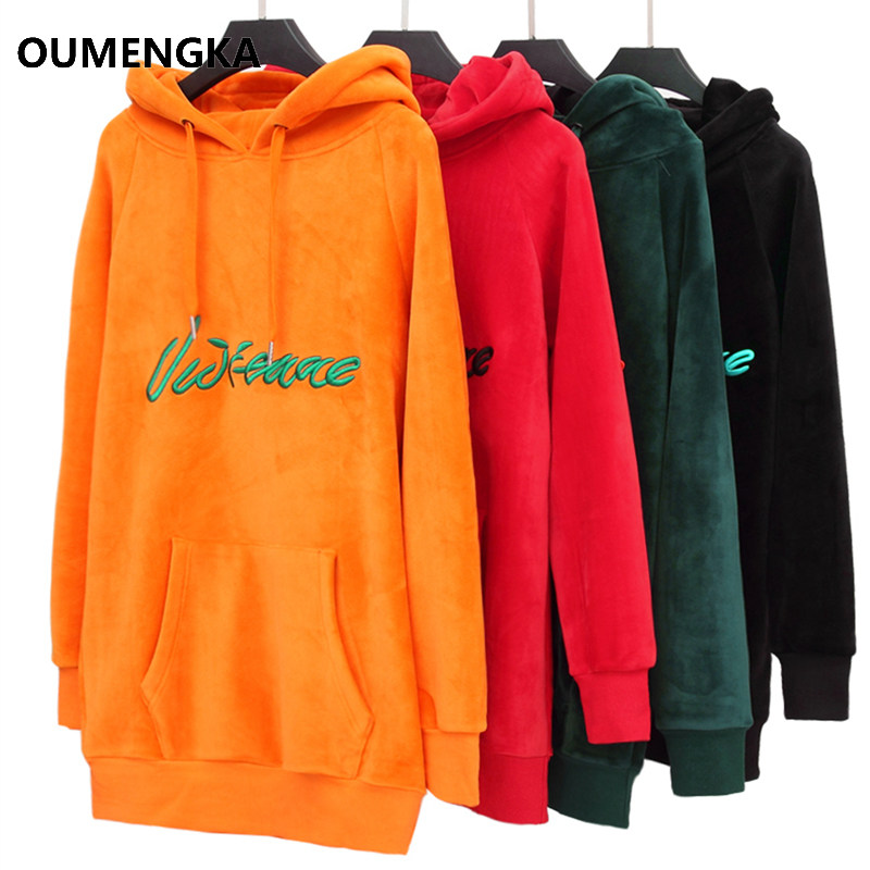 96fe13a2f403a OUMENGKA Over Sized Winter Thicken Women Long Hoodies Sweatshirt Coat  Pockets Outerwear Hooded Jacket Plus Size