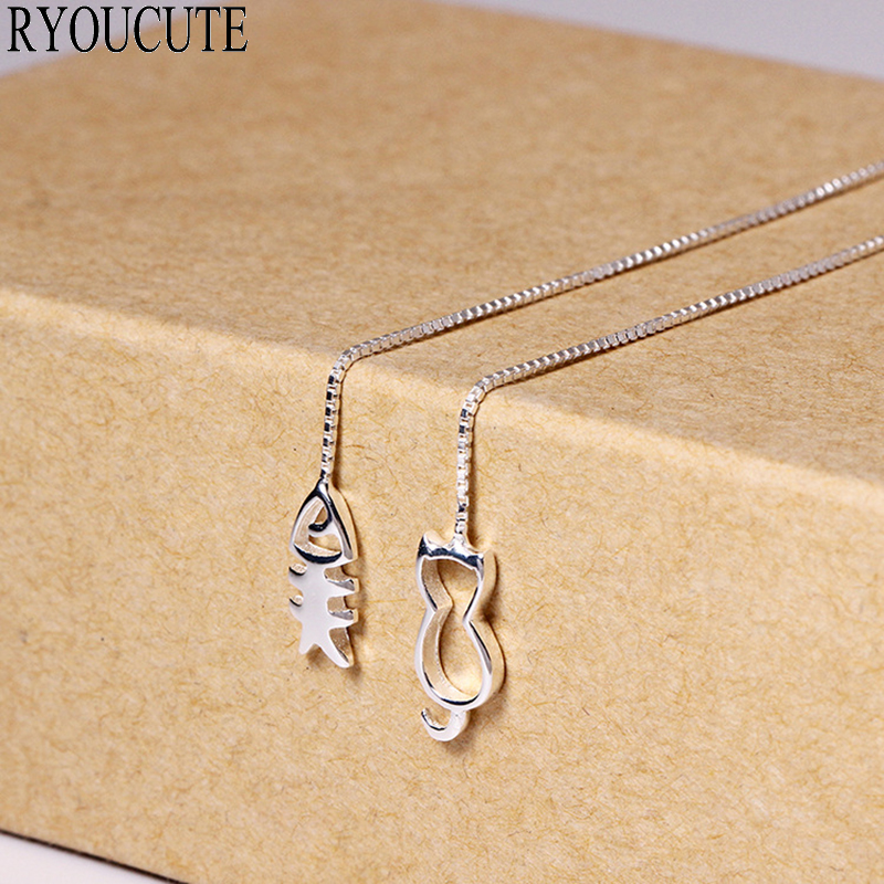 New Design Silver Color Cat Fish Earrings For Women Brincos Pendientes Wedding Jewelry