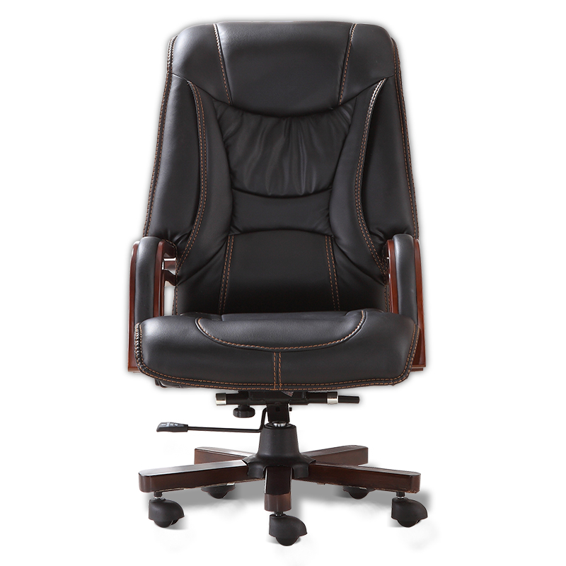 Executive Bonded Leather Office Chair Swivel Legs Wood Modern Luxury