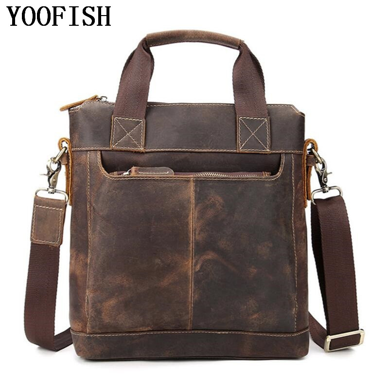 YOOFISH  Men Bag Genuine Leather Briefcases Shoulder Bags Laptop Tote men Crossbody Messenger Bags Handbags designer Bag women handbag shoulder bag messenger bag casual colorful canvas crossbody bags for girl student waterproof nylon laptop tote