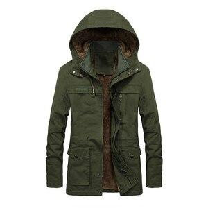 Image 4 - Artı kadife erkekler kış ceket 4XL 5XL Parka polar kürk kapşonlu askeri ceket ceket cepler rüzgarlık ceket erkekler
