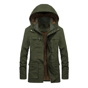 Image 4 - Plus velvet Men Winter Jacket 4XL 5XL Parka Fleece Fur Hooded Military Jacket Coat Pockets Windbreaker Jacket Men