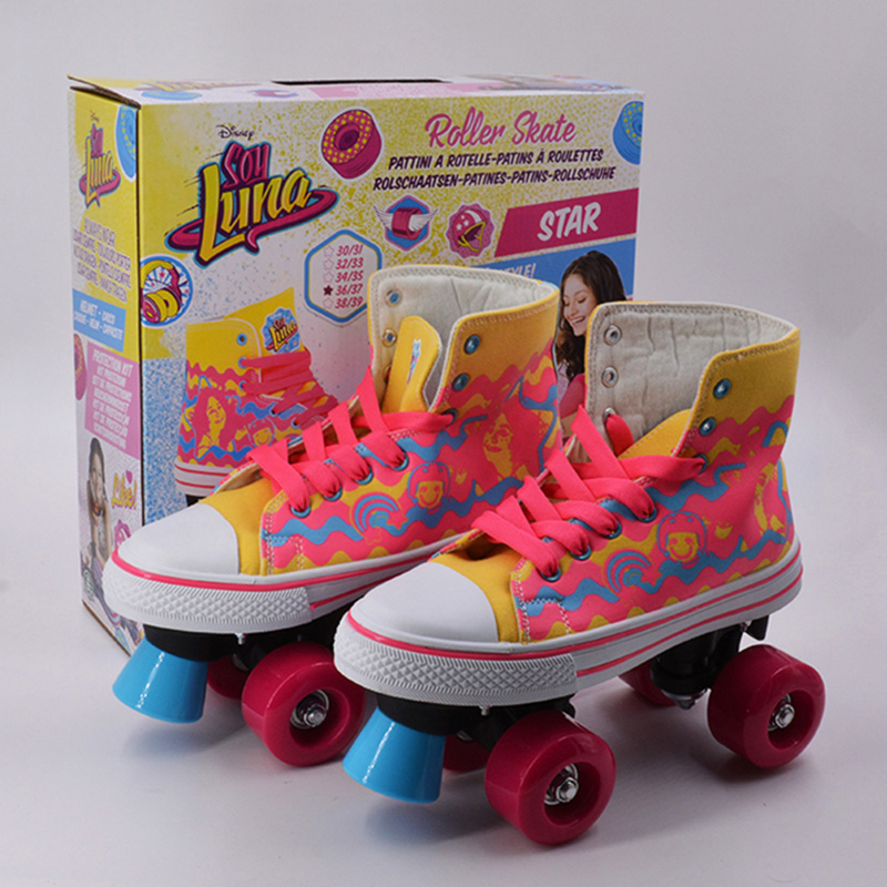 Professional Children Double Roller Skates Canvas Solid Skate Shoes For Kids Two Line 4 Wheels Patins Unisex Adulto Skating IB38 children adult parenting two line roller shoes skating 4 wheels double row skates patins kids pu wheels adjustable unisex ib42