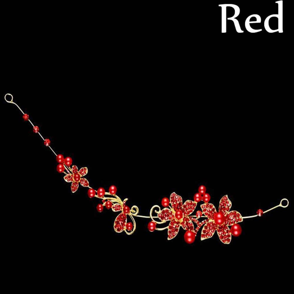 Mode femmes cristal perles fleur mariage mariée mariée fête bandeau épingle à cheveux Clip Barrettes accessoires mariée diadème chapeaux