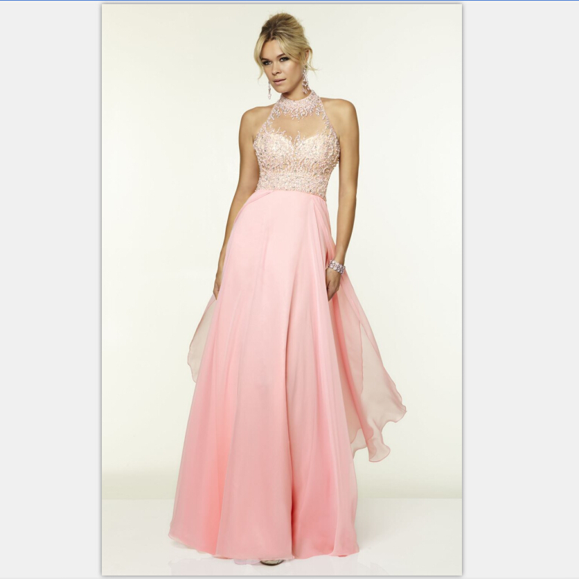 Light Pink Long Prom Dresses Chiffon Light Sky Blue Open Back Dress ...