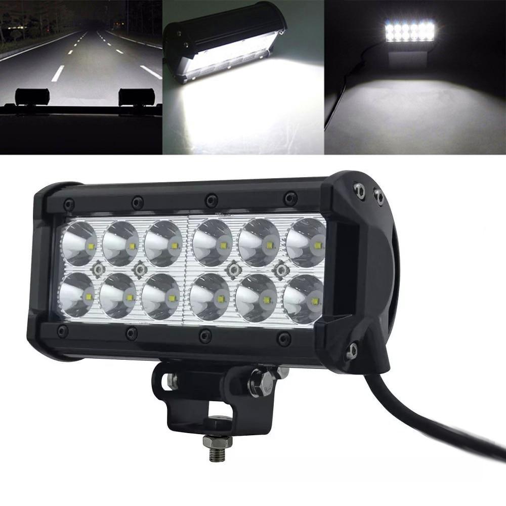 Honzdda 1pc 12v 24v 7inch 36w Led Light Work Bar Lamp Spot Flood Leds On For Cars And Trucks 5700lm Offroad Suv Atv4wd Car Boat Truck