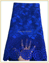 WB42-1 Wholesale price high quality African cord lace fabric for party dress,free freight faddish royalblue water soluble lace