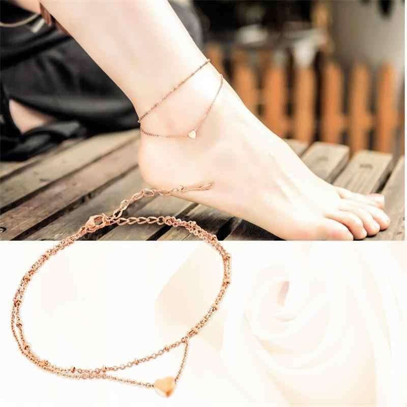 ファッションローズゴールド二重層アンクレットハート形のチャームアンクレット女性の脚ブレスレットチェーンビーチフットジュエリー