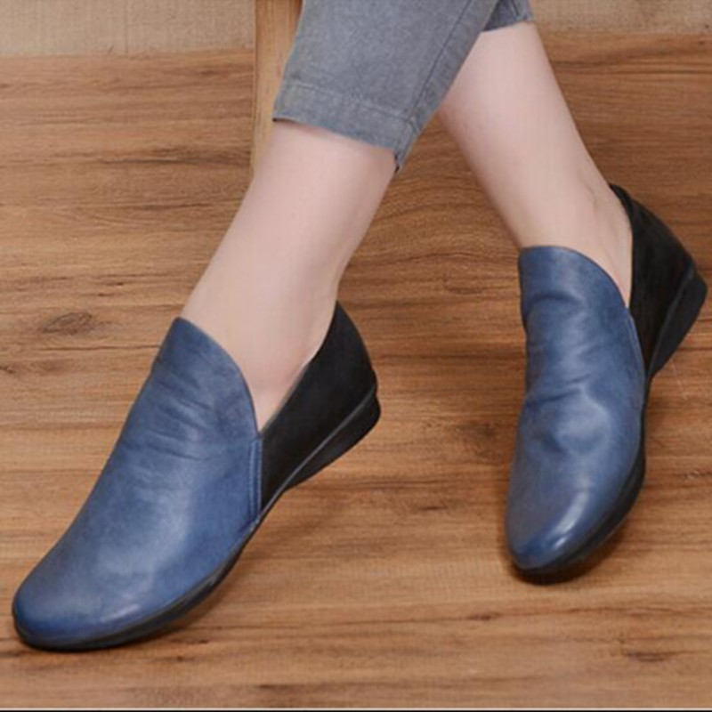 2016 spring women shoes handmade genuine leather shoes flat casual shoes color block decoration leather plus