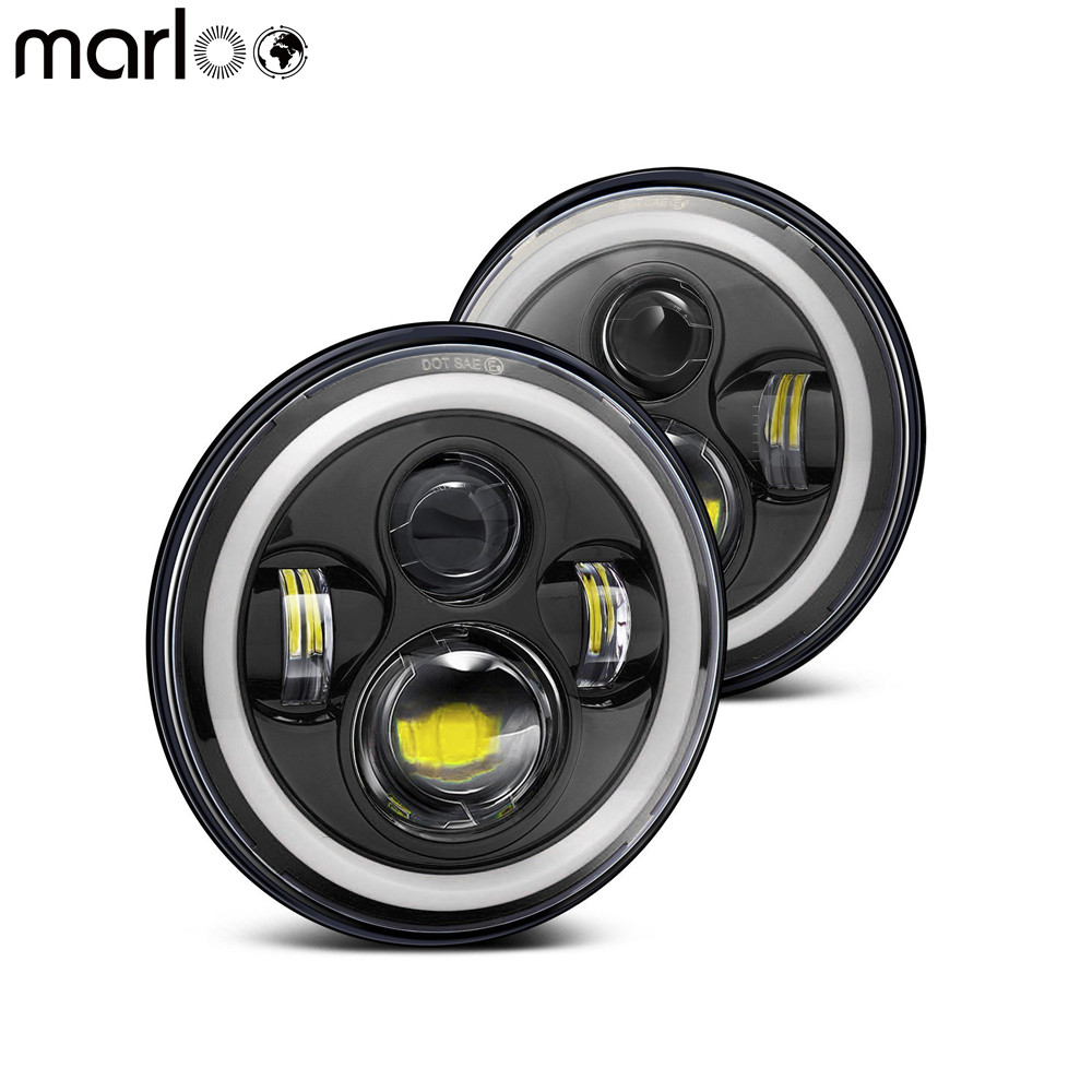 Marloo DOT 7 Inch LED Full Halo Headlights For Jeep Wrangler Harley Truck Car Round Headlight Conversion DRL Turn Signal Light 7 inch round led headlights drl