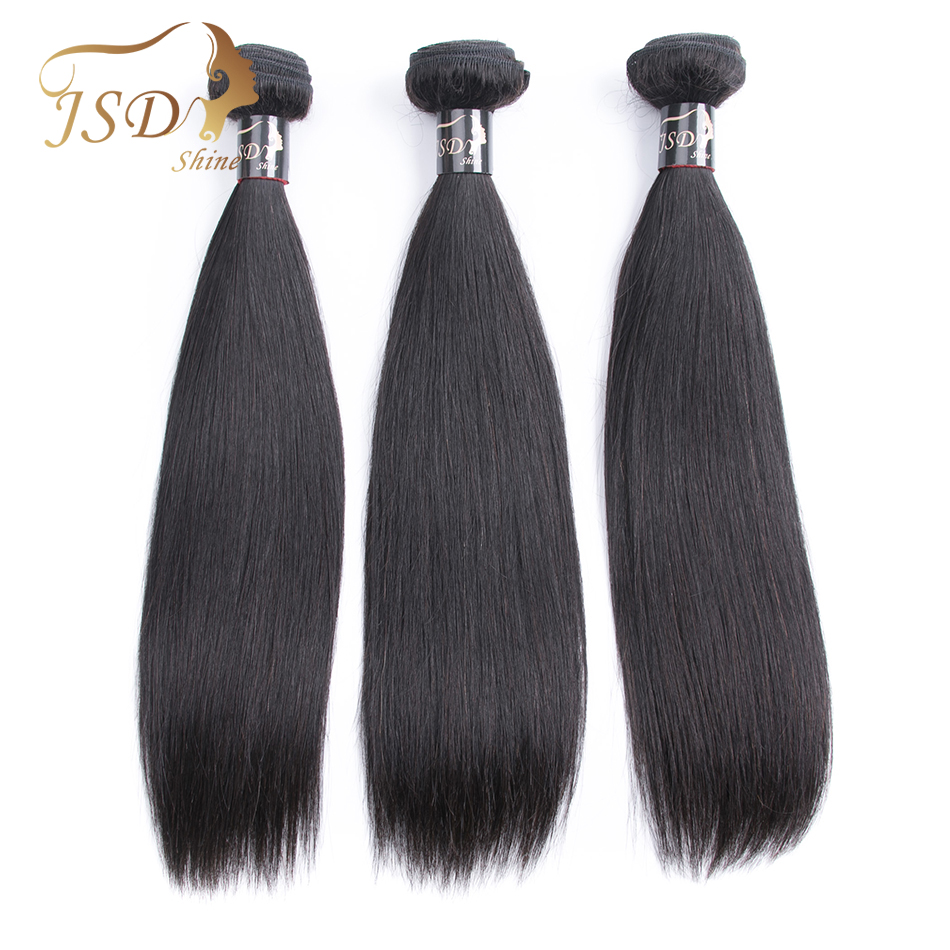 JSDShine Indian Human Hair Straight Hair Bundles 100% Unprocessed 3 Piece Hair Natural Color Extension 8-28 Inch Non Remy Hair