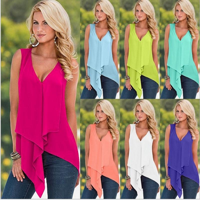 White Yellow Orange Red Purple Green Blue Irregular Women Top Summer Sleeveless Ruffles Blusas Sexy Low Cut V Neck   Blouse     Shirt