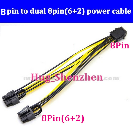 20pcs Wholesale Quality Graphic card 8pin to dual 8pin(6+2) power ...