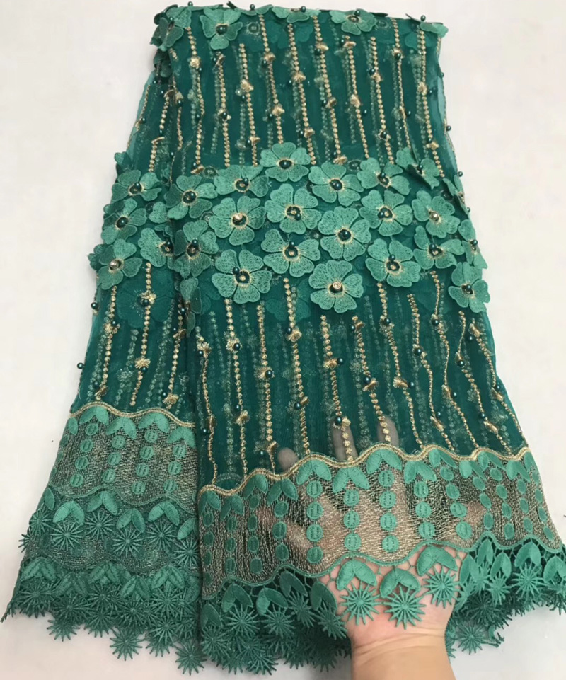 5yards pc teal green 3D flowers appliqued African net lace French lace fabric with diamond
